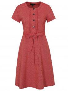 Červené šaty s příměsí lnu Fever London Juno