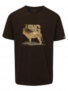 Tmavě hnědé pánské tričko s potiskem lva BUSHMAN Aulac