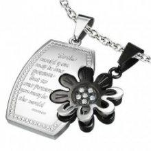 Ocelový dvojpřívěsek, leslý obdélník s kvítkem, stříbrná a černá barva U24.18
