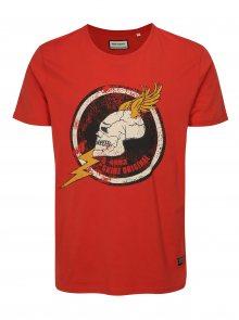 Červené tričko s potiskem lebky Shine Original