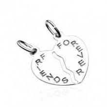 Dvojpřívěsek ze stříbra 925 - přelomené srdce s nápisem FRIENDS FOREVER V6.13