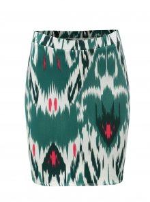 Bílo-zelená vzorovaná pouzdrová sukně VERO MODA Marrakech