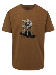 Hnědé pánské tričko s potiskem psa BUSHMAN Aulac