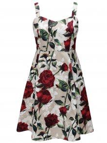 Béžové květované šaty na ramínka Zizzi