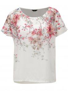 Růžovo-bílá květovaná halenka s průstřihy na rukávech M&Co