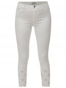 Bílé zkrácené skinny džíny s průstřihy na nohavicích Dorothy Perkins