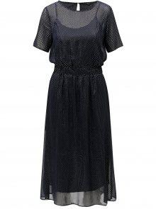 Tmavě modré puntíkované šaty VERO MODA Silvia