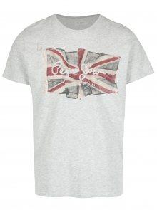 Šedé žíhané pánské regular tričko s potiskem Pepe Jeans FLAG TEE