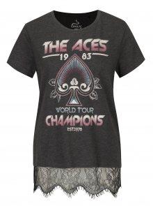 Tmavě šedé tričko s potiskem Aces a krajkou ONLY Prince