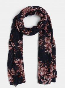 Tmavě modrý květovaný šátek Pieces Delicate