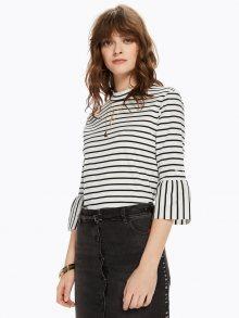 Scotch&Soda černo-bílé pruhované tričko Trumpet Sleeve Top  - XS