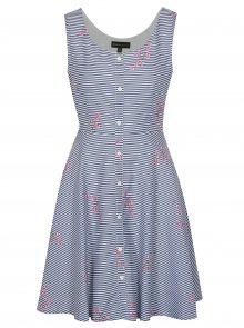 Bílo-modré pruhované šaty s knoflíky Mela London