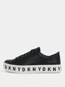 Černé kožené tenisky na platformě DKNY