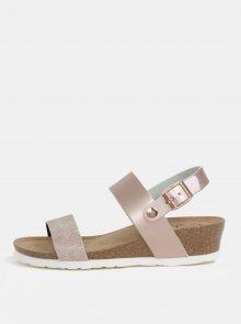 Růžové metalické sandály na klínku OJJU