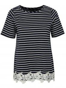 Tmavě modré pruhované tričko s krajkou Dorothy Perkins Curve