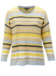 Modro-žlutý pruhovaný svetr Ulla Popken