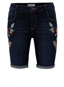 Tmavě modré džínové kraťasy s výšivkou květin Dorothy Perkins Petite