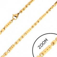 Řetízek z chirurgické oceli zlaté barvy, delší a kratší hranaté články, 3 mm Z27.12