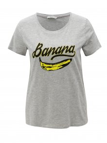 Šedé tričko s potiskem banánu ONLY Happy love