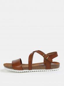 Tmavě hnědé kožené sandály OJJU