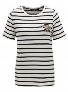 Černo-bílé pruhované tričko s výšivkou Dorothy Perkins