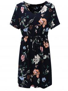 Tmavě modré květované šaty s elastickým pasem Dorothy Perkins