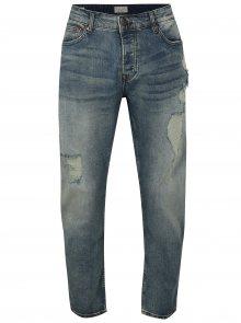 Modré regular cropped džíny s potrhaným efektem ONLY & SONS Weft