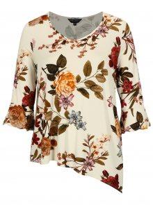 Krémové květované tričko s 3/4 rukávem Dorothy Perkins Curve