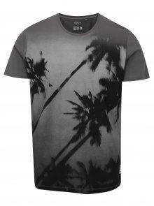 Šedé pánské tričko s motivem palmy s.Oliver