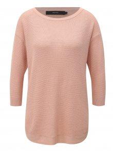 Starorůžový lehký oversize svetr s 3/4 rukávem VERO MODA Sana