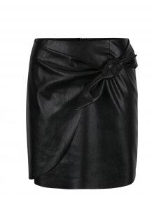 Černá koženková sukně s uzlem Miss Selfridge