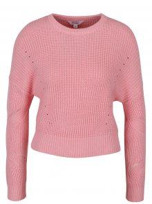 Růžový žebrovaný crop svetr Miss Selfridge