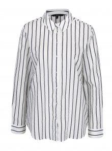 Černo-krémová pruhovaná košile s dlouhým rukávem VERO MODA Eia
