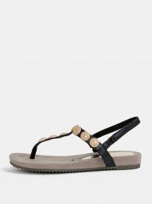 Černé sandály s aplikací ve zlaté barvě Tamaris