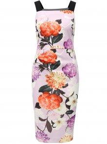 Světle fialové květované pouzdrové šaty na ramínka Dorothy Perkins