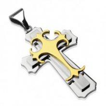 Přívěsek z chirurgické oceli - trojitý kříž zlaté a stříbrné barvy G6.13