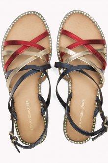Tommy Hilfiger barevné kožené sandály Metallic Strappy Flat Sandal RWB - 38