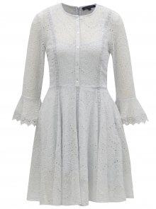 Světle modré šaty s vyšívaným vzorem a 3/4 rukávem French Connection Derna