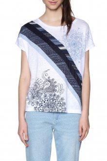 Desigual modro-bílé tričko Bernice - XXL