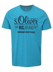 Modré pánské tričko s potiskem s.Oliver