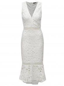 Bílé pouzdrové krajkové šaty s volánem MISSGUIDED
