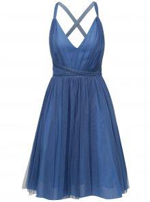 Modré tylové šaty na zavazování MISSGUIDED