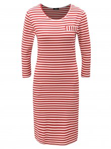Bílo-červené pruhované šaty s kapsami ZOOT