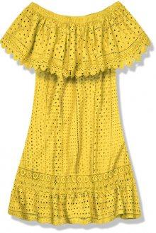 Žluté letní šaty s odhalenými rameny