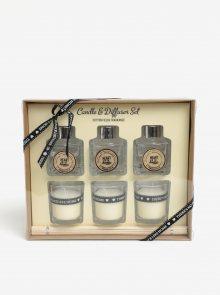 Dárkový set tří svíček a difuzérů s vůní bavlny SIFCON