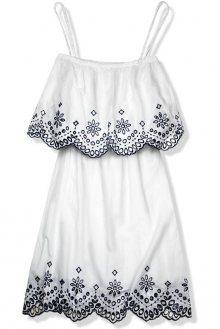 Bílo-modré šaty s výšivkou