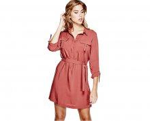 Guess Dámské šaty Effie D-Ring Shirtdress Brick L