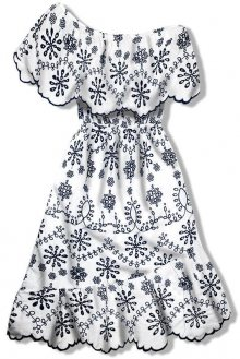 Bílo-modré vyšívané šaty