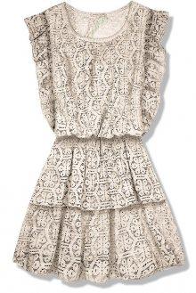 Béžové krajkové šaty