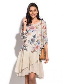 Pretty Lin Dámské šaty 6907 - CLEM A5079 BEIGE
